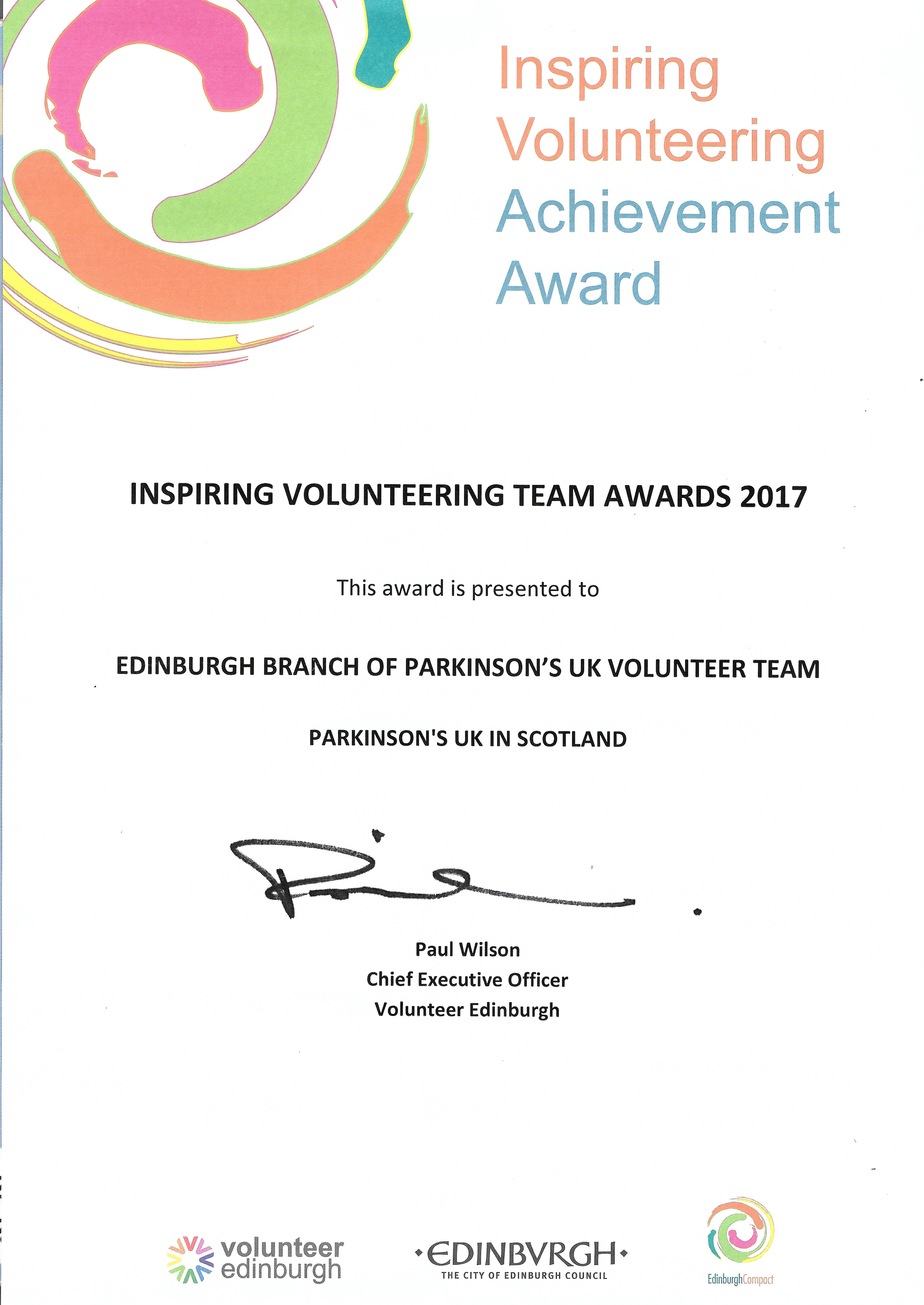 Volunteering award