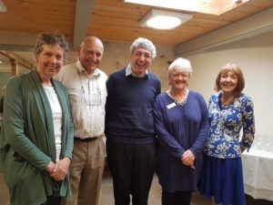 Paul and Julie Mayhew-Archer pictured with Edinburgh Branch Chair, David Adams, Branch Member Alison Williams and Director or Parkinson's UK Scotland, Annie Macleod.