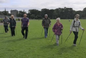 Nordic Walking Group out in the meadows
