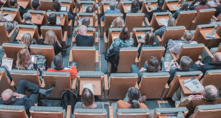 people attending talk