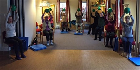 group working with pilates balls