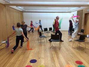 Being Put Through Their Paces With Colourful Scarves, Neurodynamics Session