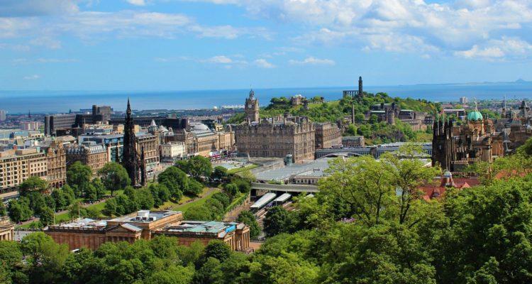 Edinburgh skyline in the sunshine